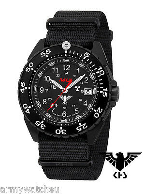 KHS Tactical Watches ENFORCER German Police Watch Tritium Date Black Army Strap