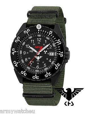 KHS Tactical Watches ENFORCER German Police Watch Tritium Date Green Army Strap