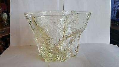 Kai Blomquist Ice Glass Clear Vase 6 inches tall - 7.5 inches wide - Signed Base