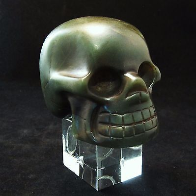 Ancient Pre-Columbian Aztec Jade Crystal Skull ~ Private Collection