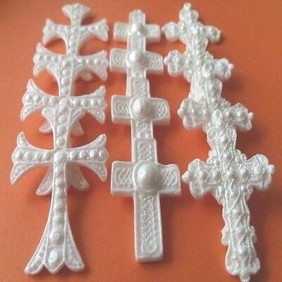 12 Edible sugar croses baby christening communion cake toppers decorations