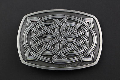 Rectangular Celtic Knot With Rounded Edge Metal Belt Buckle  Scottish Gaelic