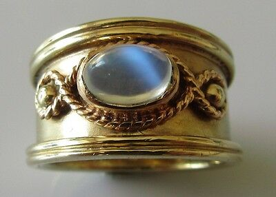 Secondhand Clogau 9ct rose yellow celtic gold cabochon moonstone ring size M.