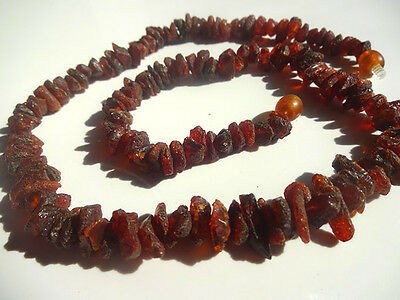 Raw Baltic Amber medicated Necklace Dark Cherry