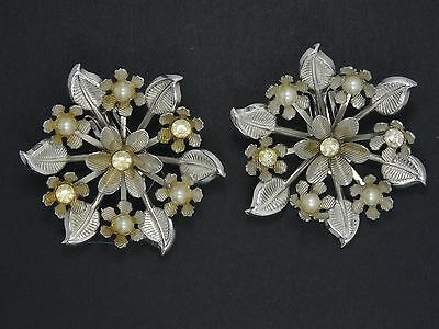 """RARE 60's CORO INTRICATE FLORAL JEWELED FAUX PEARL EARRINGS ~ 2"""""""