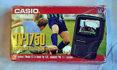 "Casio TV-1750 Portable Pocket LCD Colour Television 3"" Walkman Discman Vintage"