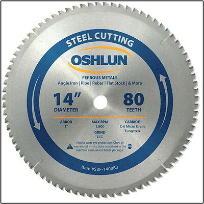 "Oshlun SBF-140080 14"" 80 Tooth Saw Blade 1"" Arbor for Mild Steel/Ferrous Metals"