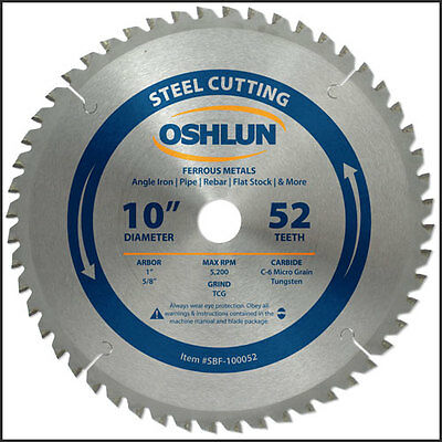 "Oshlun SBF-100052 10-Inch 52 Tooth TCG Saw Blade with 1"" Arbor + 5/8"" Bushing"