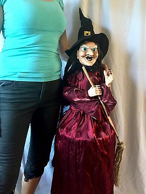 """Vintage Large tall Creepy Witch Doll Figure Broom Halloween Prop Decoration 48"""""""