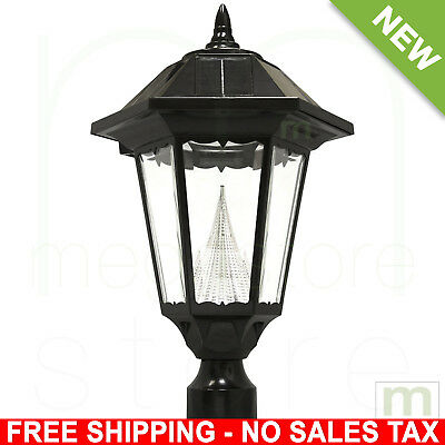 Black Solar LED Outdoor Post Light Lamp Lamppost Lantern Fixture Lighting