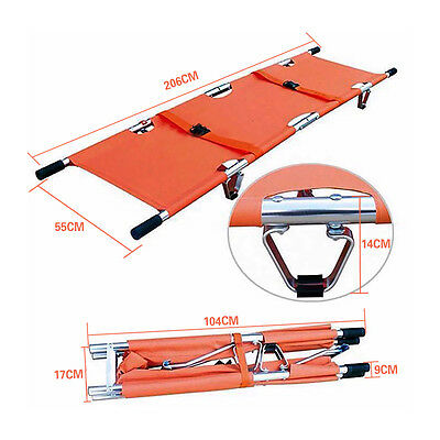 Aluminum Folding Bed Stretcher High Quality  Medical First Aid Patient Orange