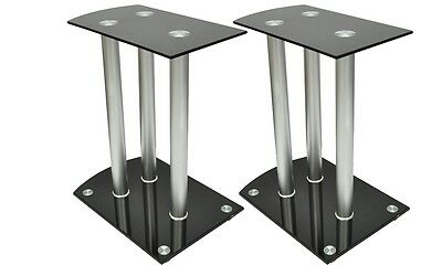 #bNew Aluminum Speaker Stands 2 pcs Black Safety Glass High Quality