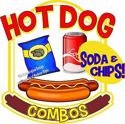 """Hot Dogs Soda Combos Decal 7"""" Restaurant Food Truck Concession Vinyl Sticker"""