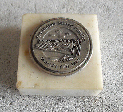 Vintage 1982 World's Fair United States Pavilion Small Marble Paperweight