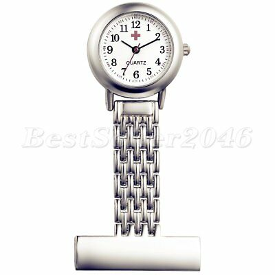 Stainless Steel Digital Quartz Silver Nurse Watch Pin Brooch Tunic Fob Watches