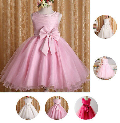 Flower Girls Bow Wedding Bedding Dress Baby Bridesmaid Tulle Pageant Formal Gown