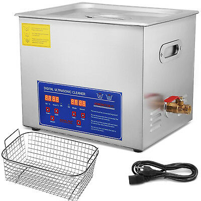 Stainless Steel 10 L Ultrasonic Cleaner Liter Industry Heated W/ Timer Heater