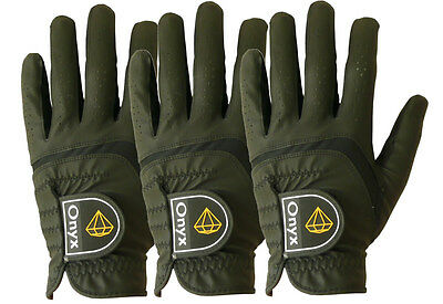New Onyx Mens Golf Gloves 3 Pack  ...All Weather  ...Left Hand Large ... Black