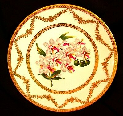 AMAZING LIMOGES CABINET PLATE *ORCHIDS* HAND PAINTED *SIGNED SCHOPP c.1880