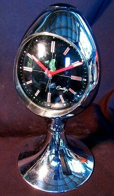 CHROME MID CENTURY CLOCK *BRADLEY EGG CLOCK*  W. GERMANY c.1960'S