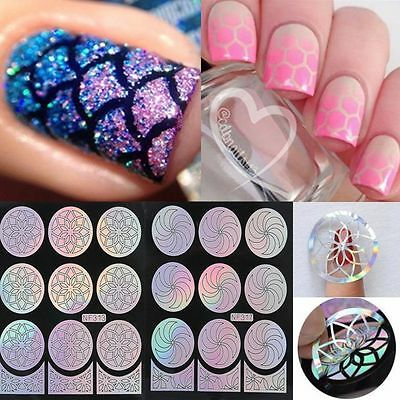 Ongle Autocollant sticker guide Pochoir nail art manucure stamper stamping décor