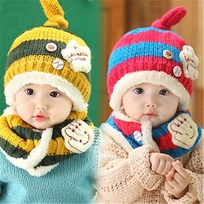 Baby Toddler Girls Boys Beanie Earflap Winter Hat Hooded Scarf Knitted Cap Wool