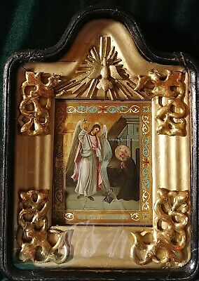 ANTIQUE 19c HAND PAINTED  RUSSIAN ICON OF ST.MIHAIL(ST.MICHAEL) WITH KIOT
