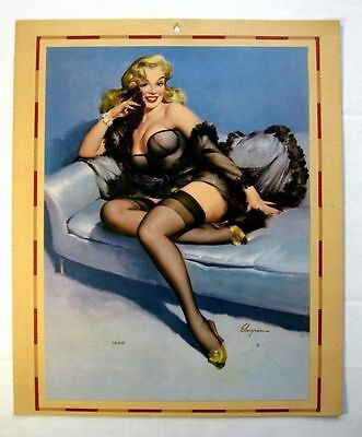 1950s  Pin Up Girl Picture Blond Bombshell in Black Cocktail Dress by Elvgren