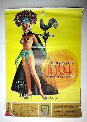 1964 Topless Pin Up Girl Calendar Girls of Fantasy Ren Wicks Harolds Club Casino