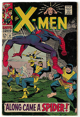 Marvel Comics UNCANNY X-MEN Issue 35 Along Came A Spider! Spider-Man Appears VG