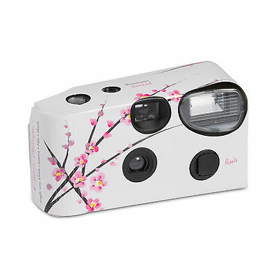 White Disposable Cameras with Flash Cherry Blossom Design Pack of 10