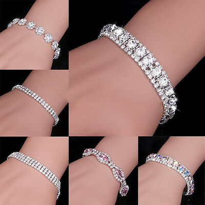 Exquisite Bridal Crystal Rhinestone Bangle Bracelet Charm Womens Wedding Jewelry