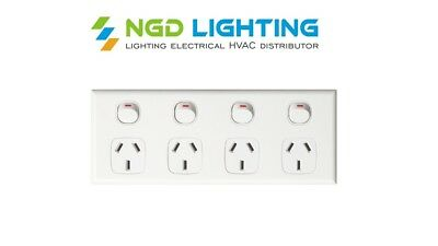 5x Quad Power Point 4 Gang Socket 10 Amp 250V Electrical Supplies Aus Approved