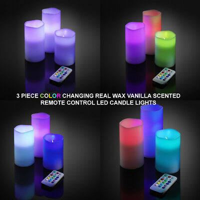 Real Wax Led Flameless Colour Changing Candle Lights With Remote Xmas Gift Decor
