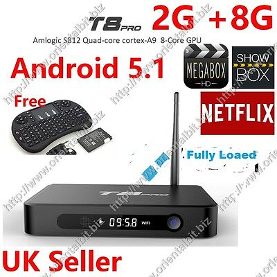 New T8 PRO Amlogic S812 Android Quad Core TV Box Fully Loaded, i8