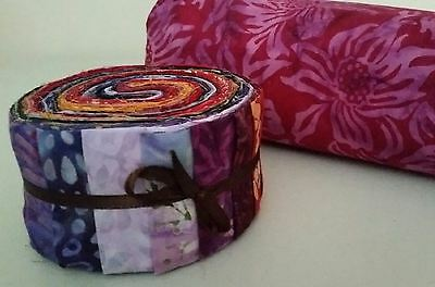 Batik Quilting Pack No 14 - 1 Jelly Roll Plus 5 Metres Of Fabric - 100% Cotton