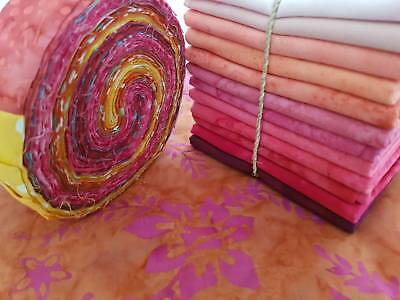 Batik Quilting Pack No 8 - 1 Jelly Roll Plus 5 Metres Of Fabric - 100% Cotton