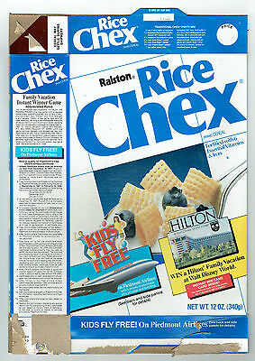 Rice Chex Ralston 12 oz. Empty Cereal Box 1987 Piedmont Airlines Walt Disney