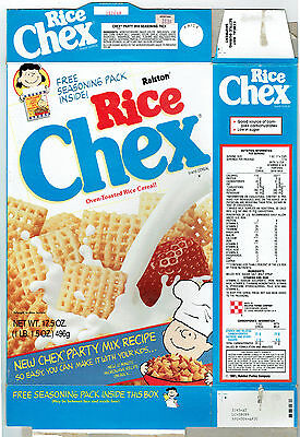 Rice Chex Ralston 17.5 oz. Empty Cereal Box Charlie Brown 1992 Peanuts Gang
