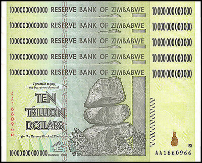 Zimbabwe 10 Trillion X 5 Pieces (PCS), AA/2008,P-88,Circulated,Used,100 Trillion
