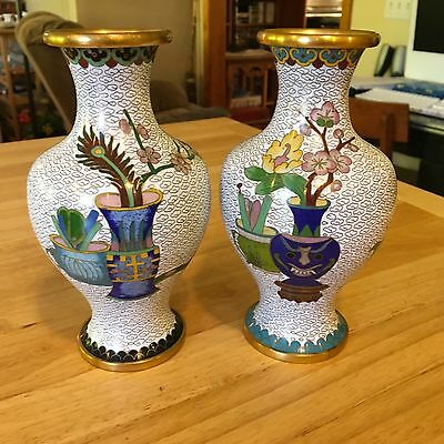 """Rare Pair of White Background Floral Cloisonne Vases 7.5"""" X 5"""""""