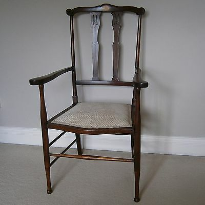 Antique Style Upholstered Solid Dark Wood Arts and Crafts Hall Occasional Chair