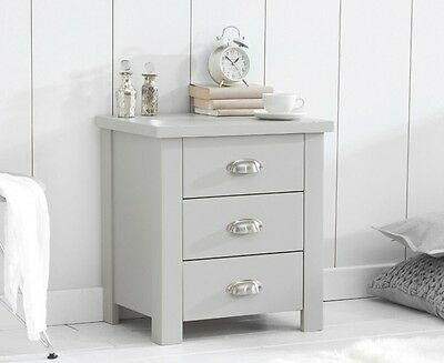 Banbury Painted Grey Wooden Bedroom Furniture 3 Drawers Bedside Table Cabinet