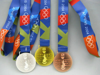 2004 Athens Olympic Gold Silver Bronze Medals Set with Silk Ribbons