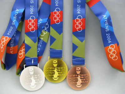 2004 Athens Olympic Medals Set with Silk Ribbons **Free Shipping**