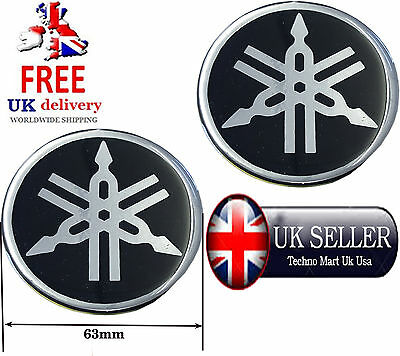 Yamaha 63Mm Tuning Fork Logo Black  Decal Emblem Sticker Badge Pair
