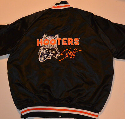 Vintage 'hooters Staff' Jacket! Embroidered With Owl! Lightweight Black Nylon Xl