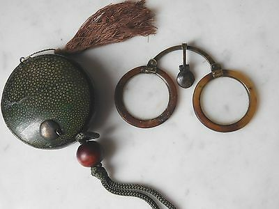 Rare Antique 18Th Century Chinese Shagreen Cased Folding Horn Spectacles