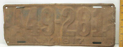 Roached Patina 1917 NY License Plate A49-281 Americana Mans Room Auto Antique Ad