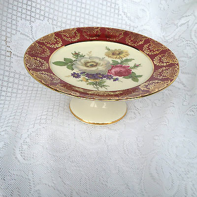 Royal Bayreuth 'GLORIA' Footed Cake Plate - Floral with Burgundy & Gold (241)
